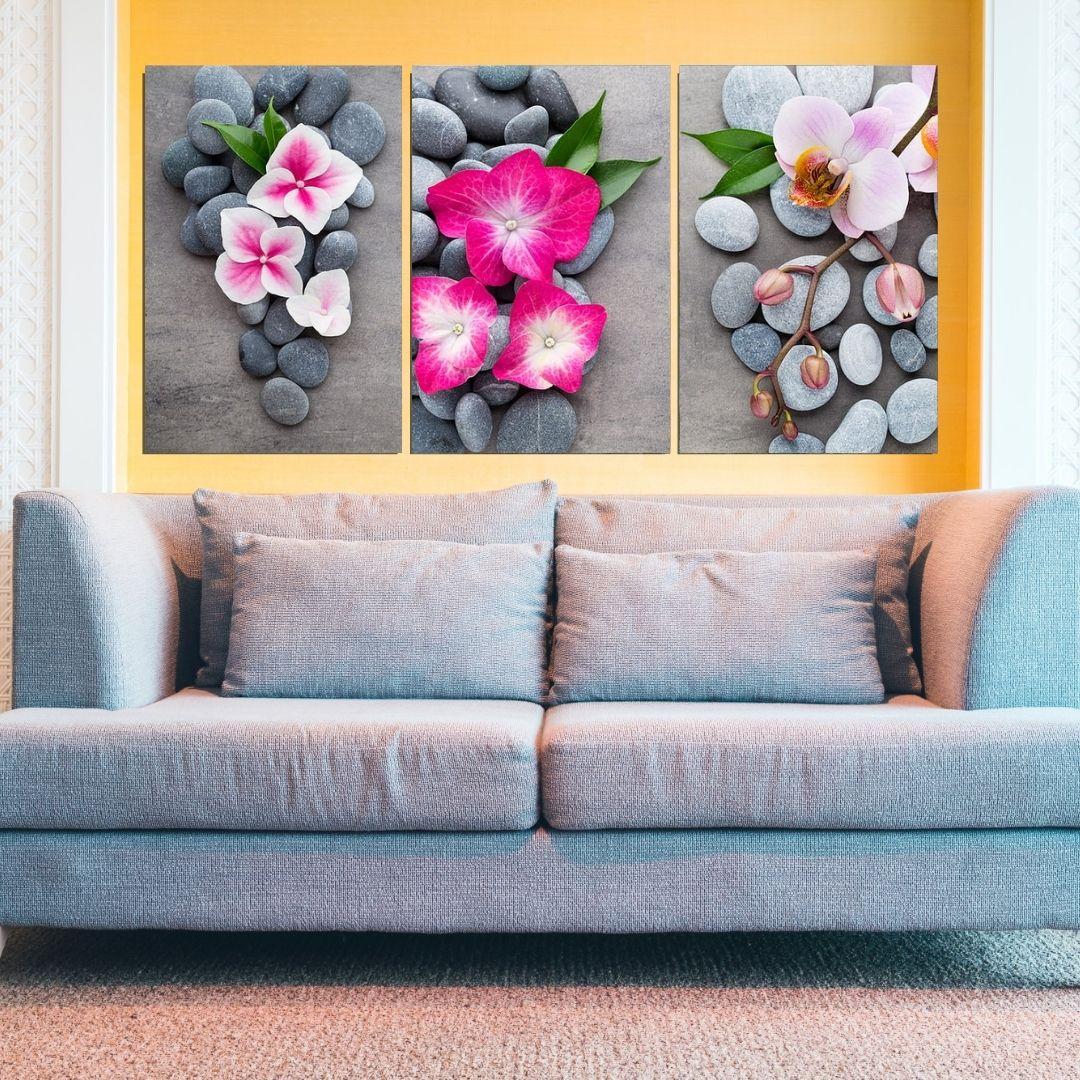 Quadro Decorativo - 3 Telas - Flores Zen - 60x40cm