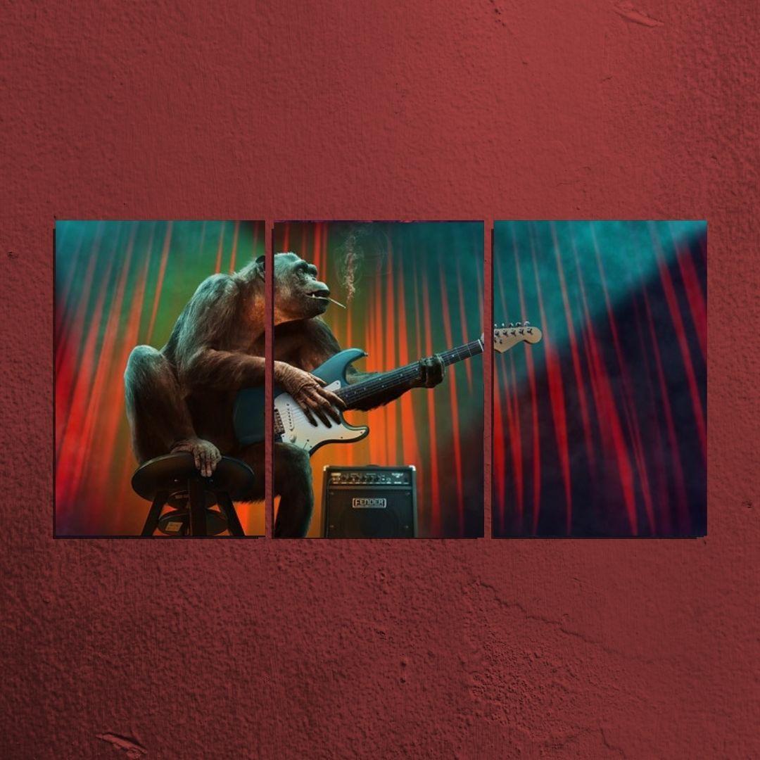 Quadro Decorativo - 3 telas Macaco Guitarrista - 120x60cm