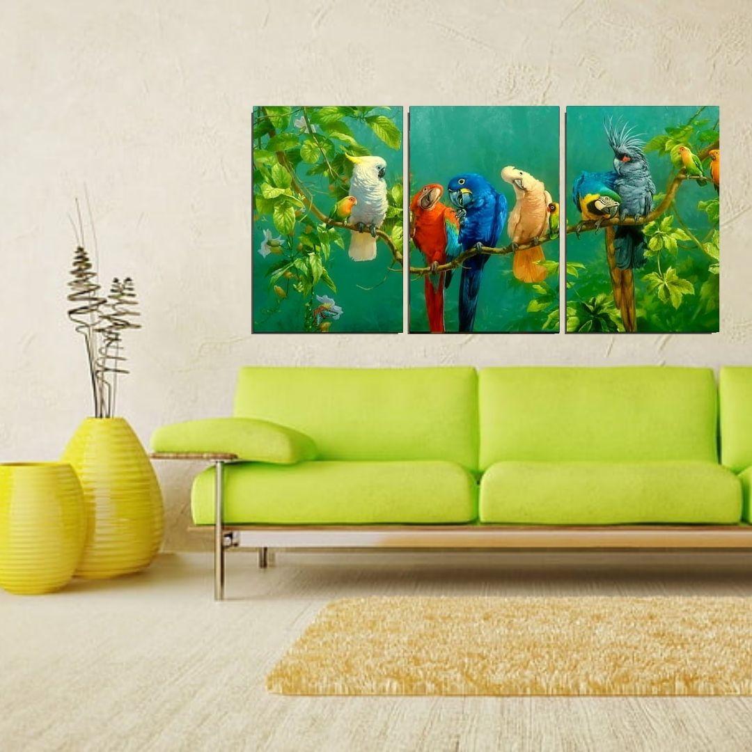 Quadro Decorativo Para Sala - 3 Telas - Pássaros Silvestres - 120x60cm