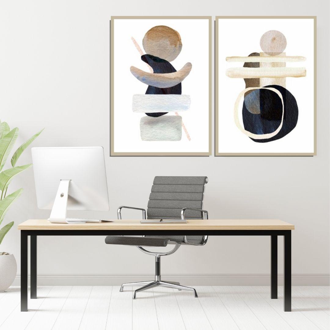 Quadro Decorativo 2 Telas - Abstrato Moderno - 70x50cm