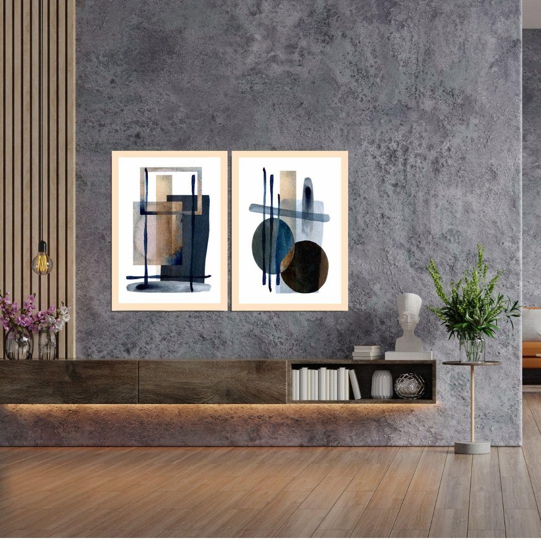 Quadro Decorativo - Abstrato Moderno - 2 Telas - 70x50cm