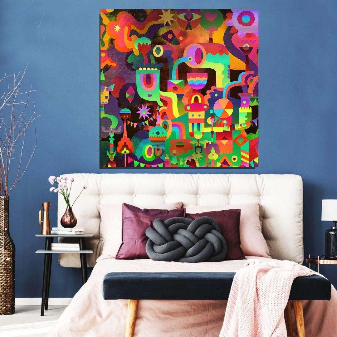 Quadro Decorativo - Abstrato Moderno Multicolorido - 90x90cm