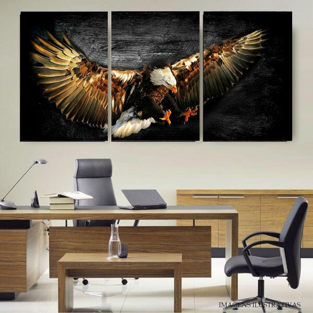 Quadro Decorativo - 3 Telas - Águia Voando - 120x60cm
