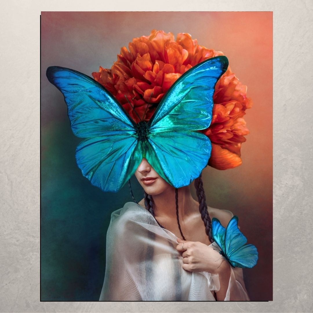 Quadro Decorativo - Arte Moderna - Mulher Borboleta - 100x80cm.