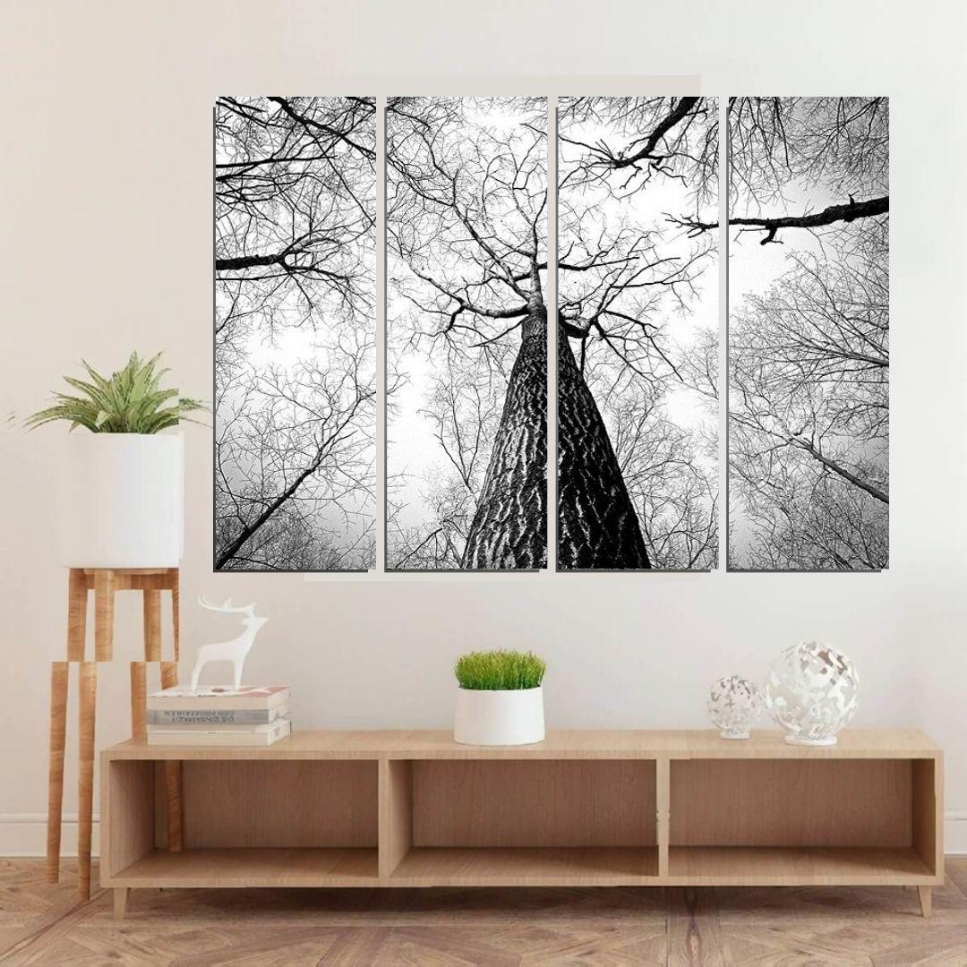 Quadro Decorativo - Arvore Preto e Branco - 4 Telas - 120x160cm