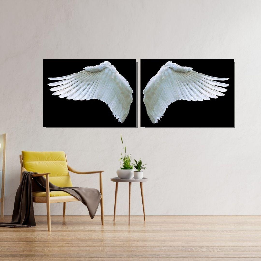 Quadro Decorativo - 2 Telas - Asas Angelicais - 120x45cm.