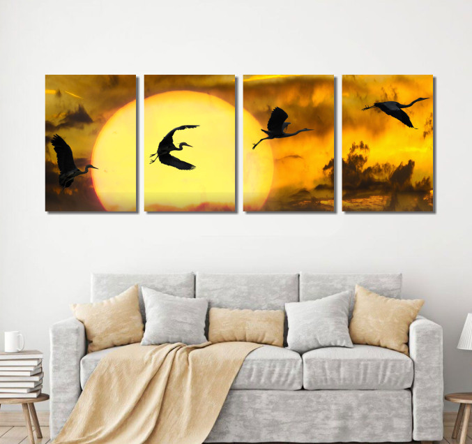 Quadro Decorativo - 4 Telas - Aves Voando no Por do Sol - 160x60cm