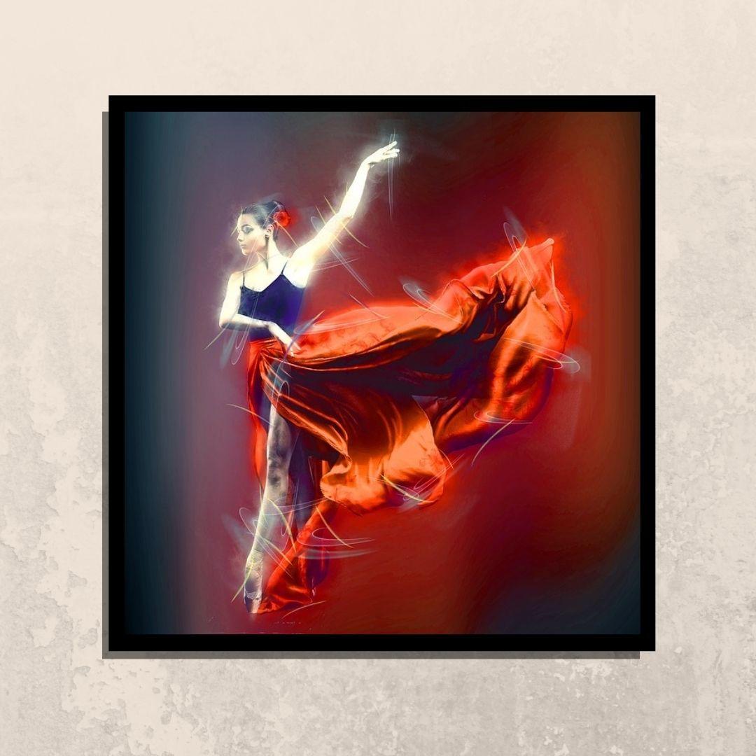 Quadro Decorativo - Bailarina - 90x80cm - Com Moldura