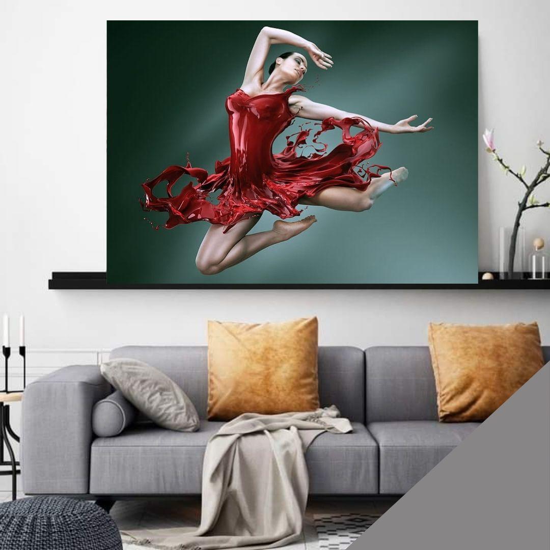 Quadro Para Sala - Bailarina com Vestido Vermelho - 100x70cm