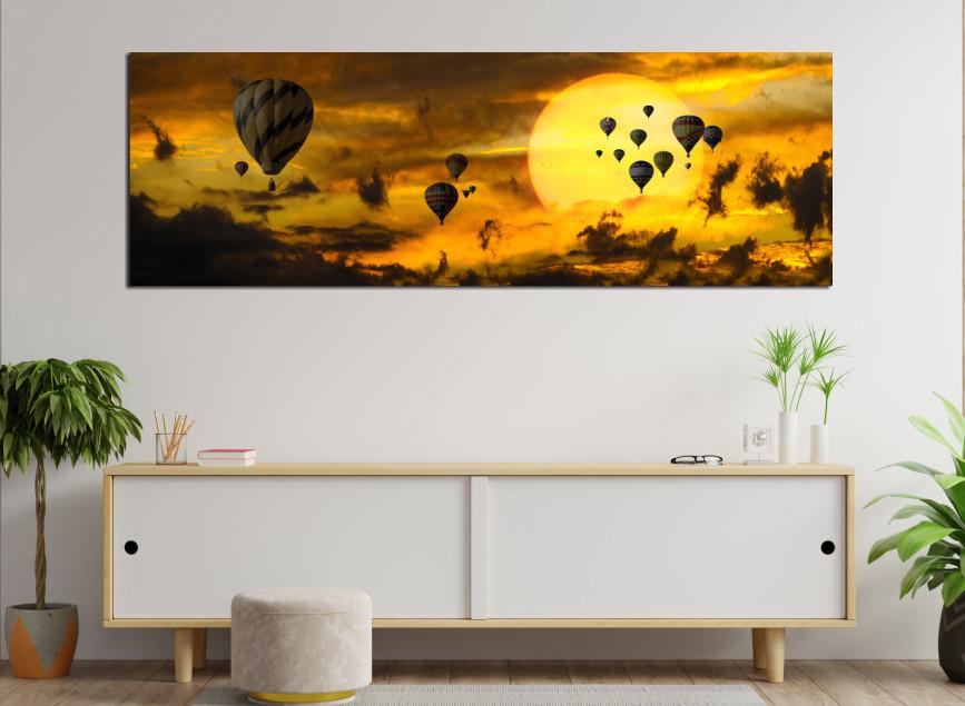 Quadro Decorativo - Balões no ceu Amarelo - 120x40