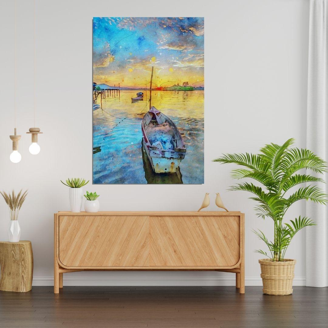 Quadro Decorativo - Barco - 90x60cm