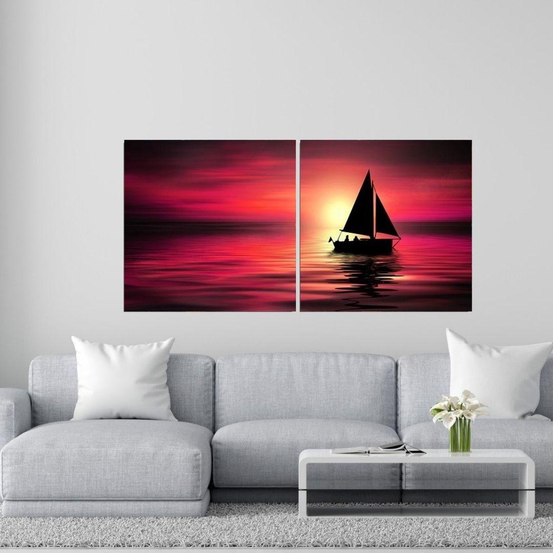 Quadro Decorativo - Barco Fundo Avermelhado - 100x50cm