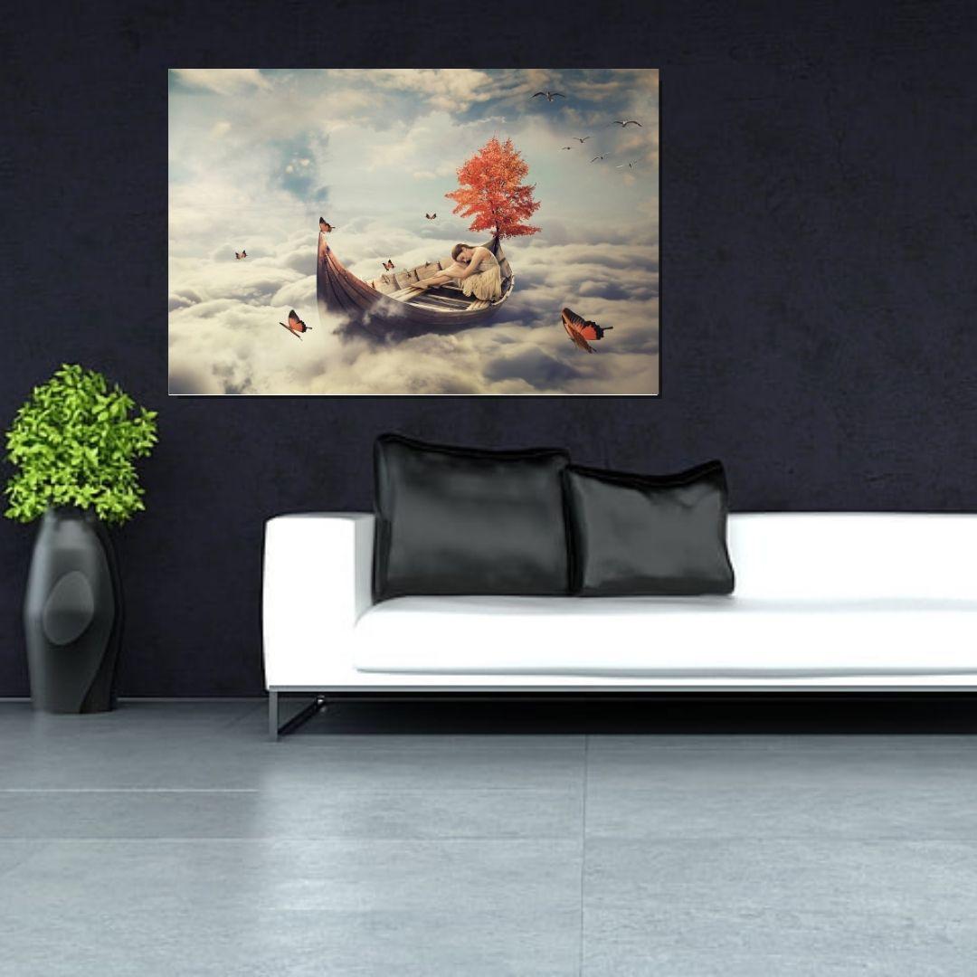 Quadro Decorativo - Barco nas Nuvens - 110x70cm