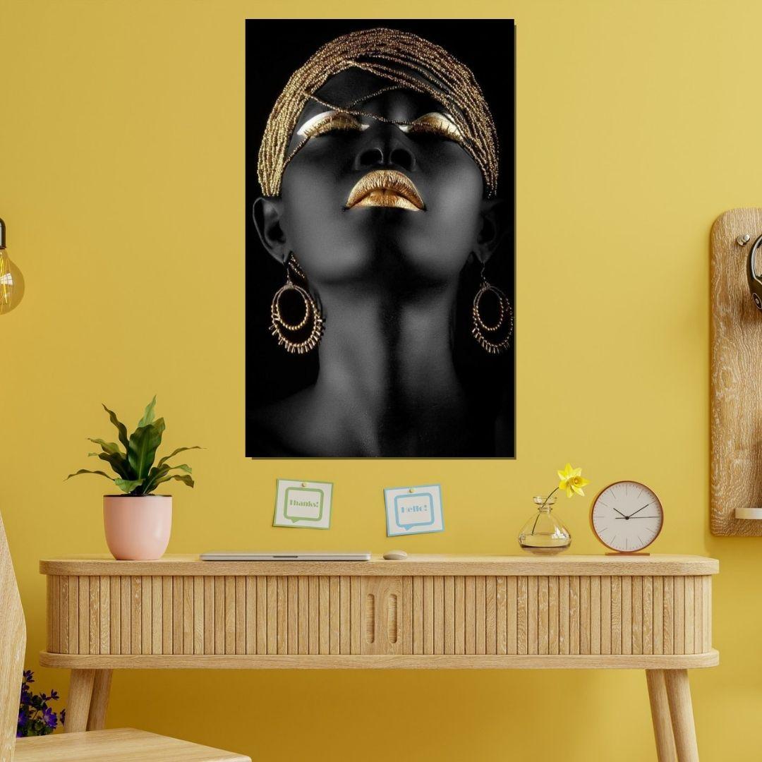Quadro Decorativo - Black Make - Negra Com Detalhes Dourados - 90x55cm