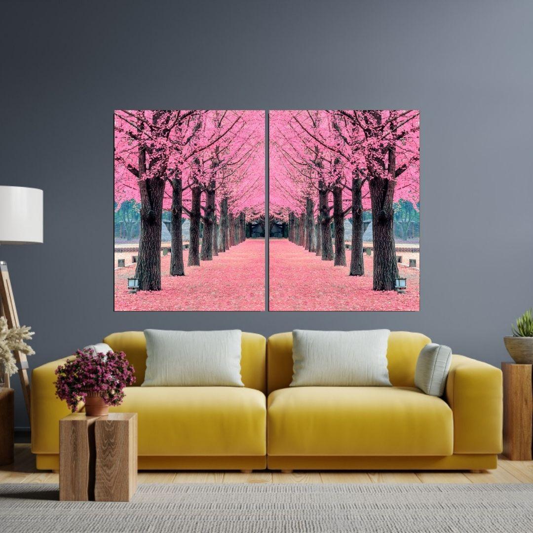 Quadro Decorativo - Caminho Rosa - 2 Telas - 120x80cm