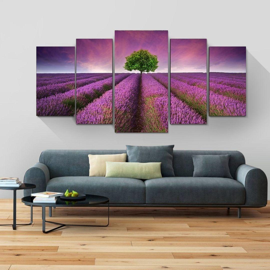 Quadro Decorativo - Campo de Lavanda - Mosaico 5 Telas - 110x60cm
