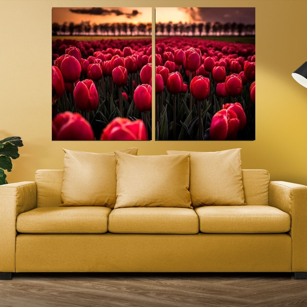 Quadro Decorativo - Campo de Tulipas - 2 Telas - 120x80cm