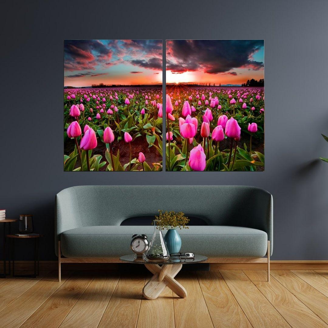 Quadro Decorativo - Campo de Tulipas Rosas - 2 Telas - 120x80cm