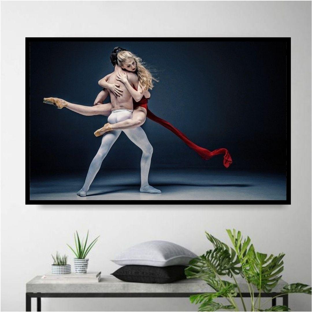Quadro Decorativo - Casal de Bailarinos - 110x70cm - Com Moldura