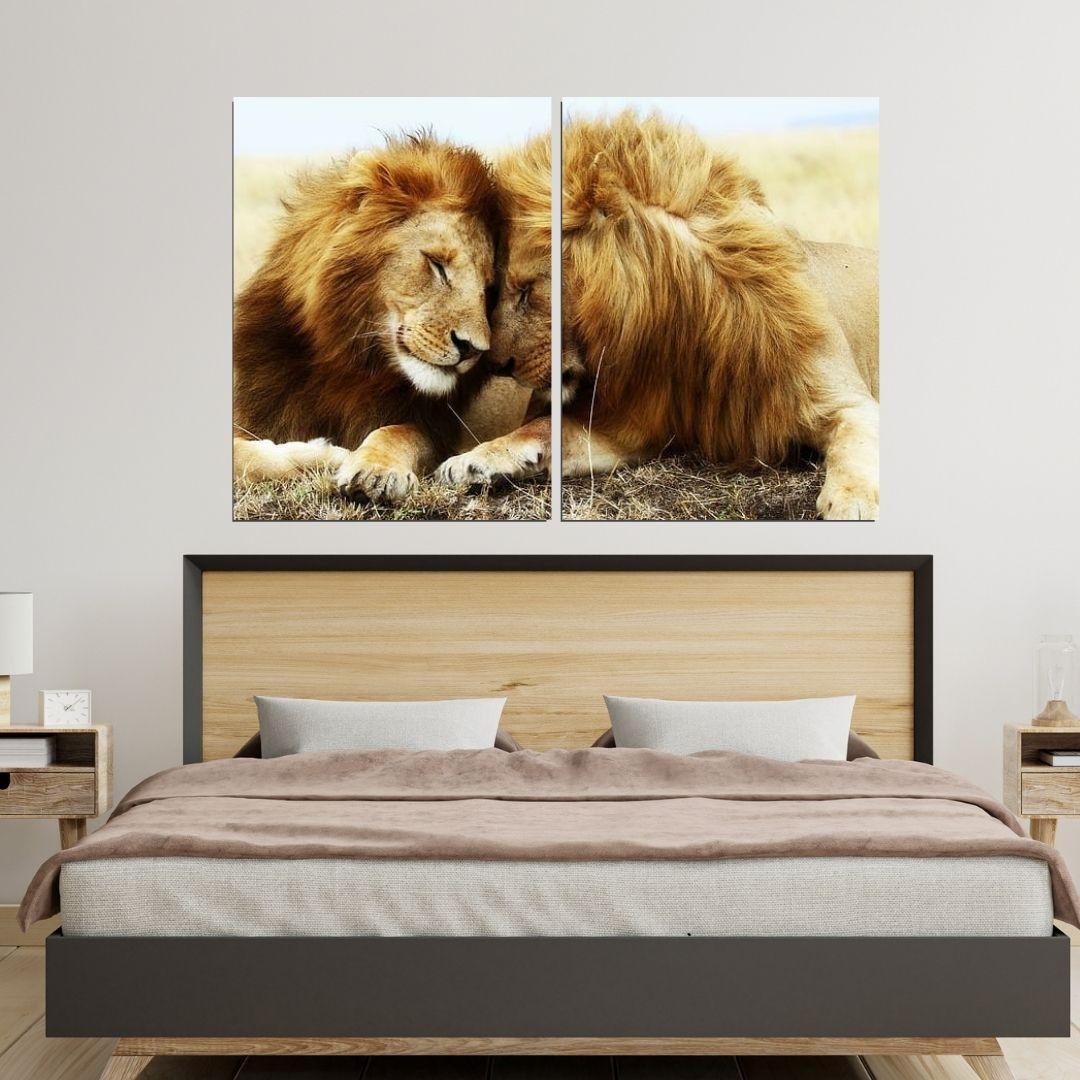 Quadro Decorativo - Casal de Leões - 120x80cm