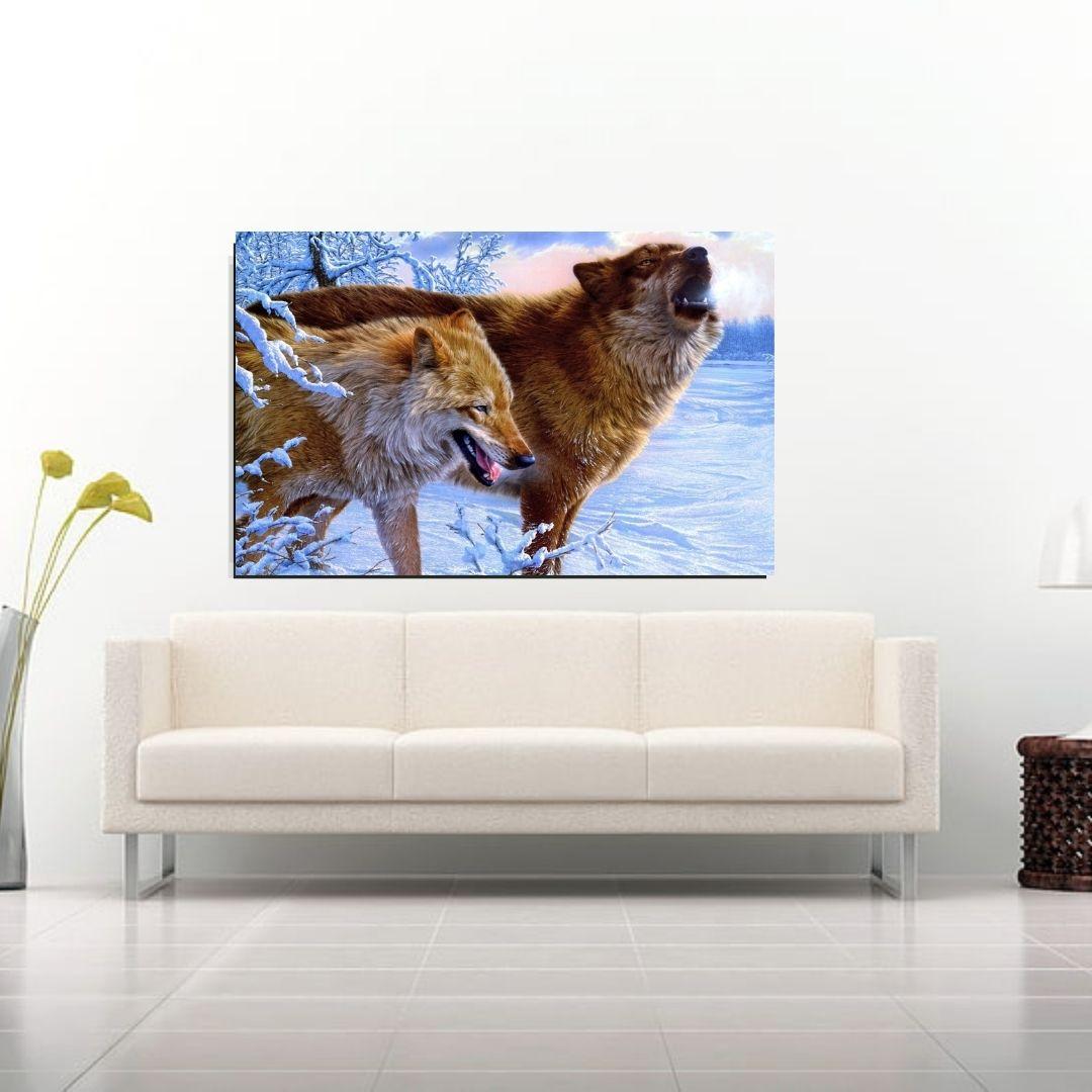 Quadro Decorativo - Casal de Lobos - 120x70cm