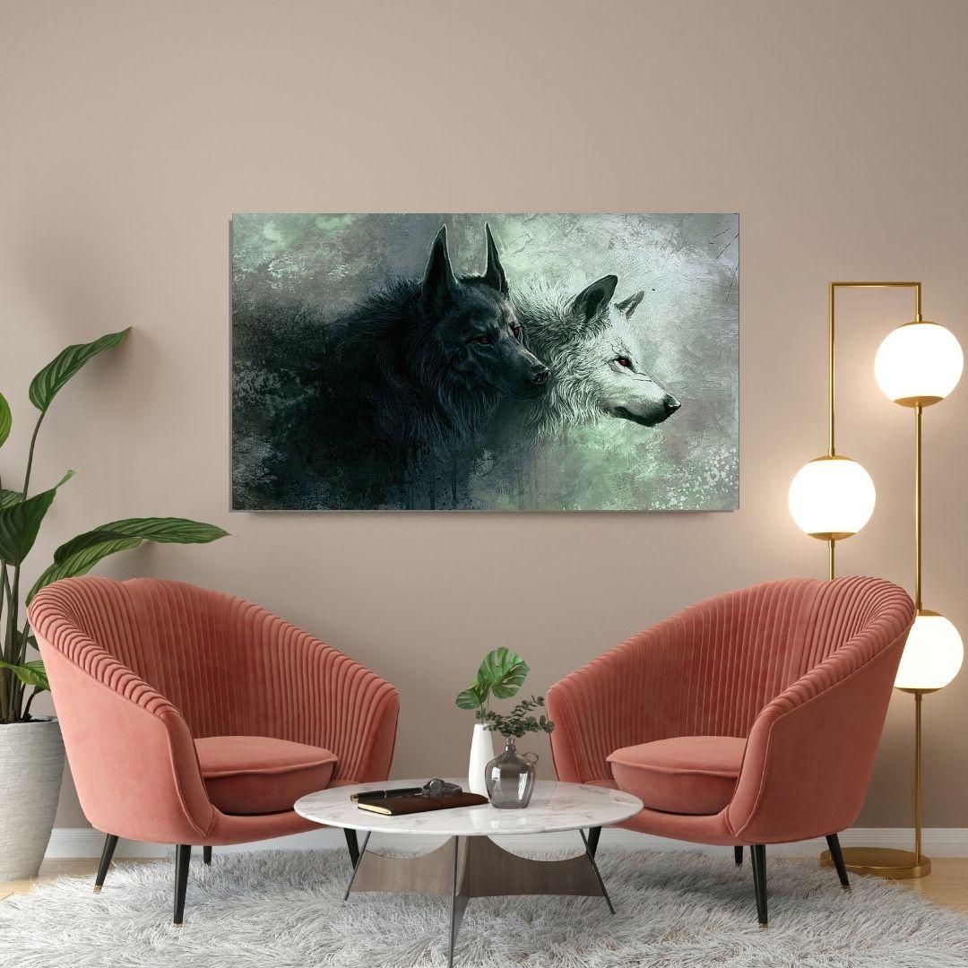 Quadro Decorativo - Casal de Lobos Preto e Branco - 110x65cm