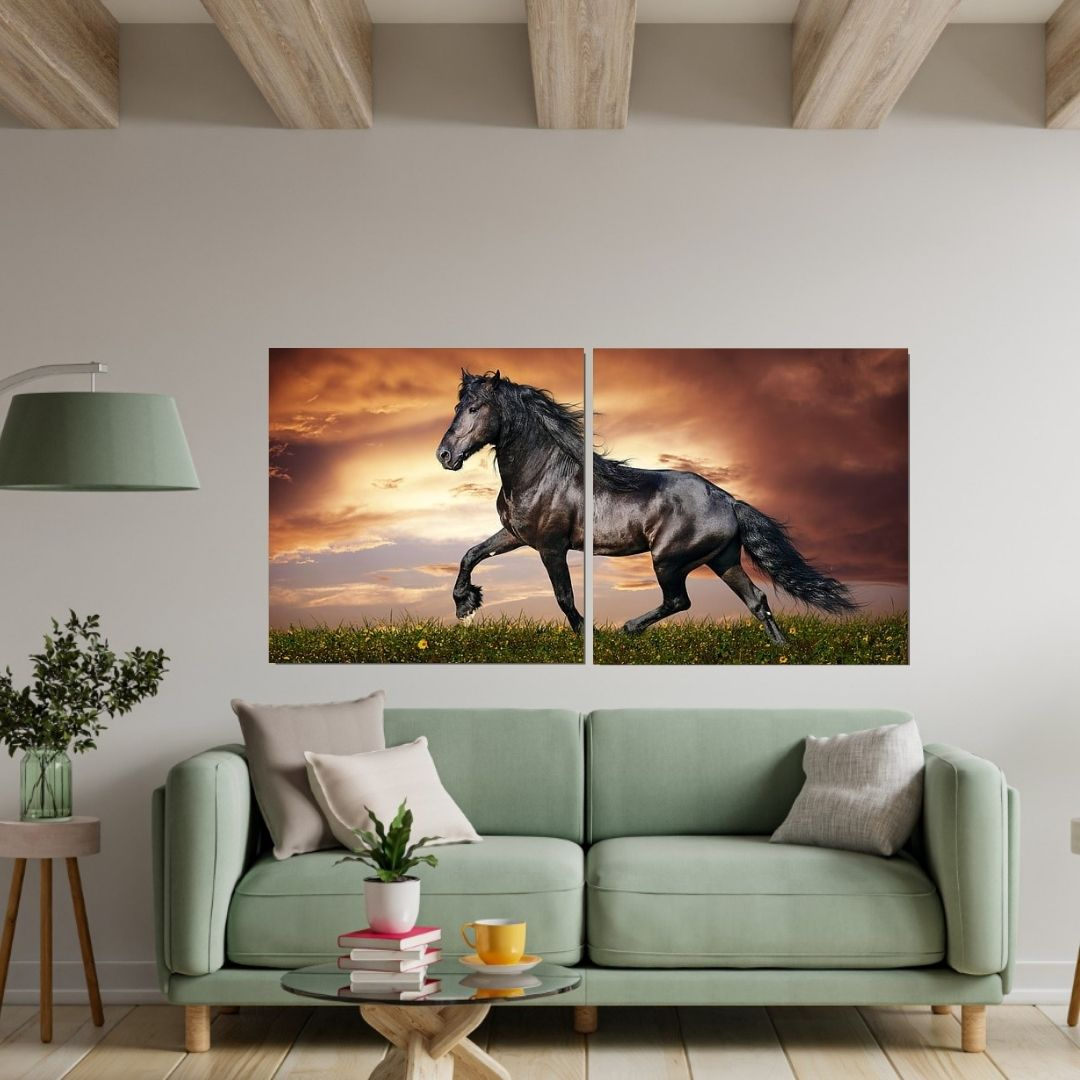 Quadro Decorativo -  Cavalo - 2 Telas - 140x70cm