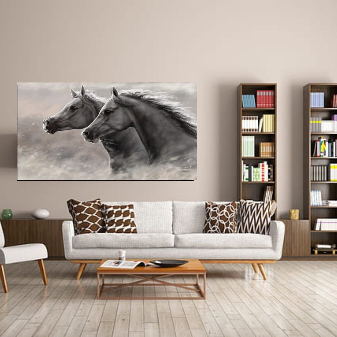 Quadro Decorativo - Cavalos Preto e Branco - 110x50cm
