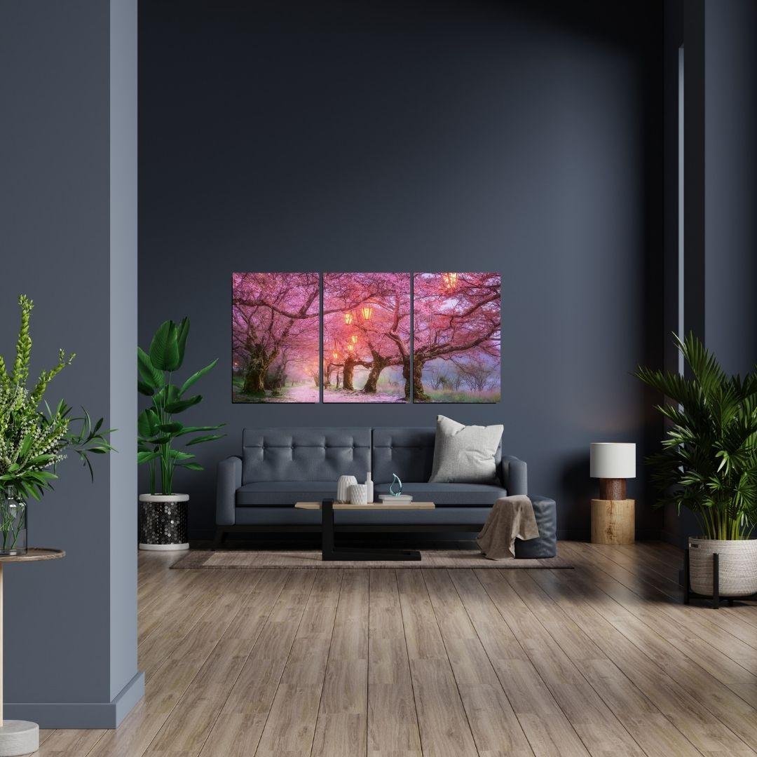 Quadro Decorativo - Caminho com Cerejeiras - 120x60cm