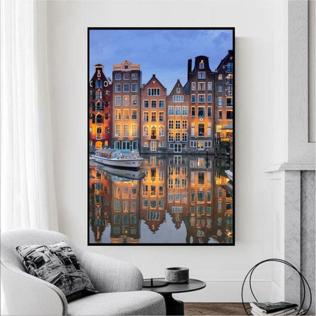 Quadro Decorativo - Cidade com Reflexo - 120x60cm