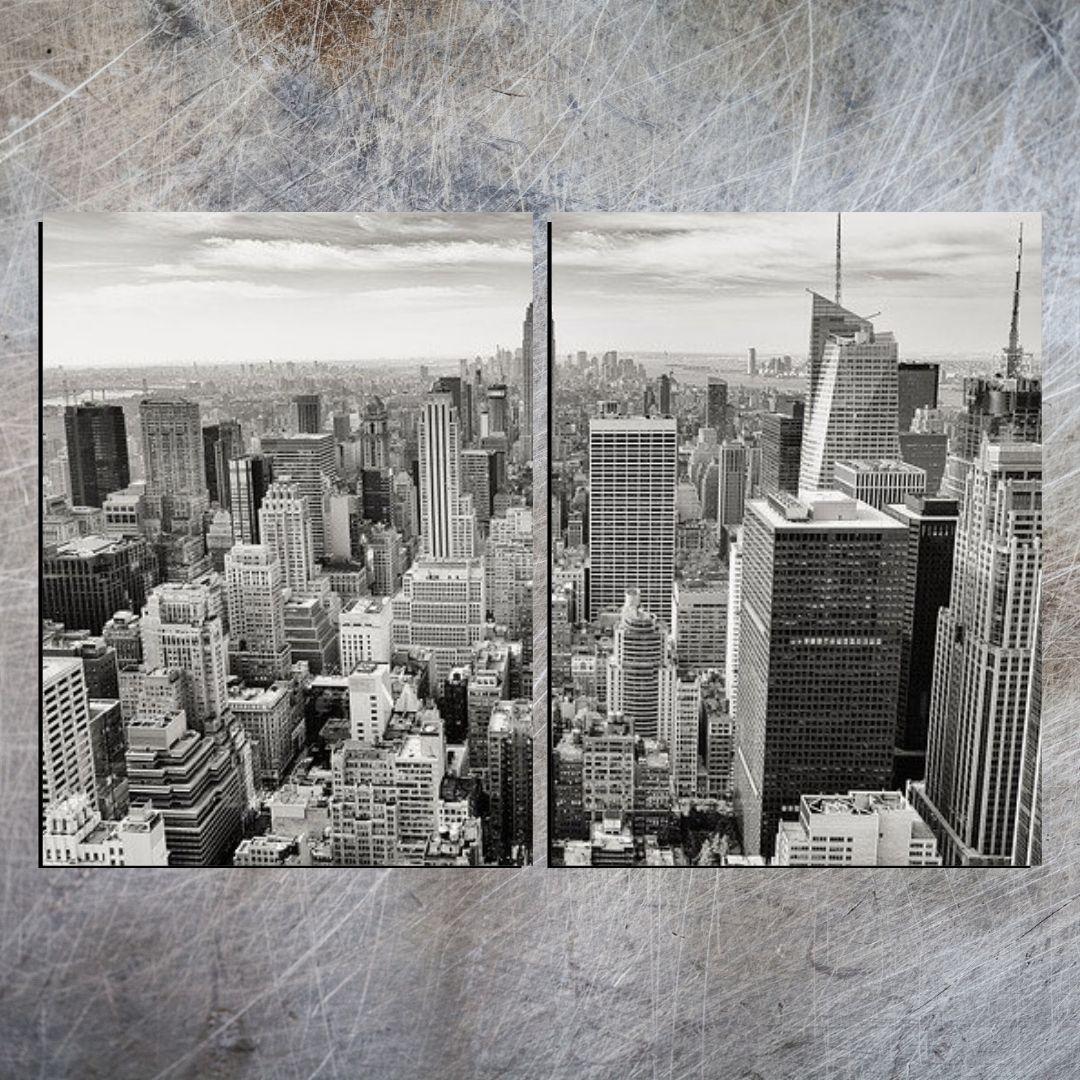 Quadro Decorativo - Cidade Preto e Branco - 2 Telas - 120x80cm