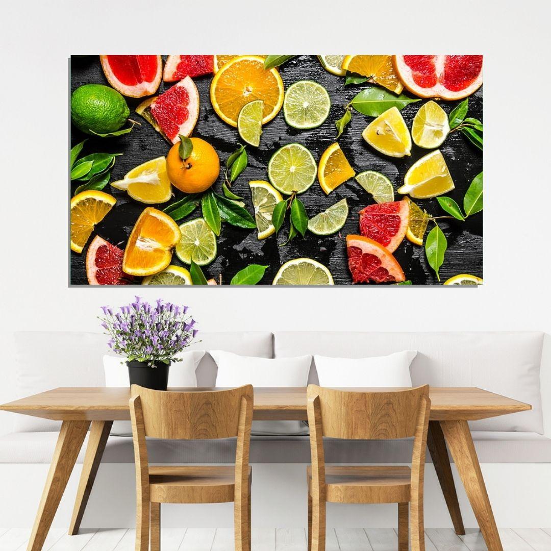 Quadro Decorativo - Cozinha -  Frutas Frescas - 110x60cm