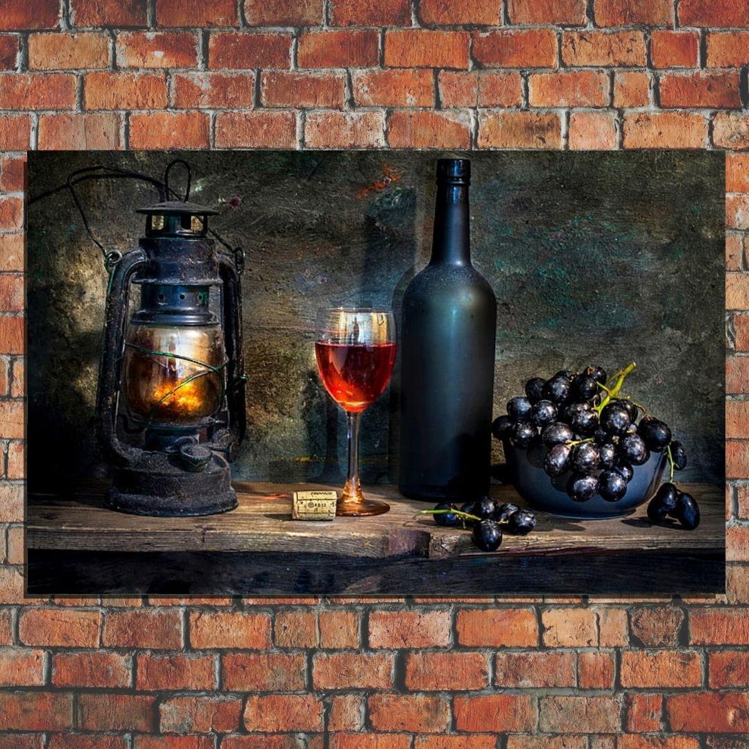 Quadro Decorativo - Cozinha Rustica - Garrafa de Vinho - 110x70cm