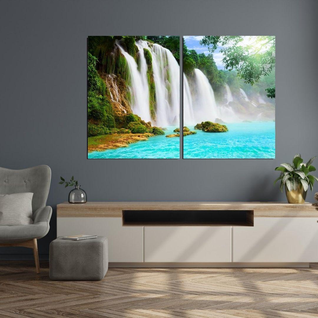 Quadro Decorativo - Duas Telas - Cachoeira Tons Azuis - 120x80cm