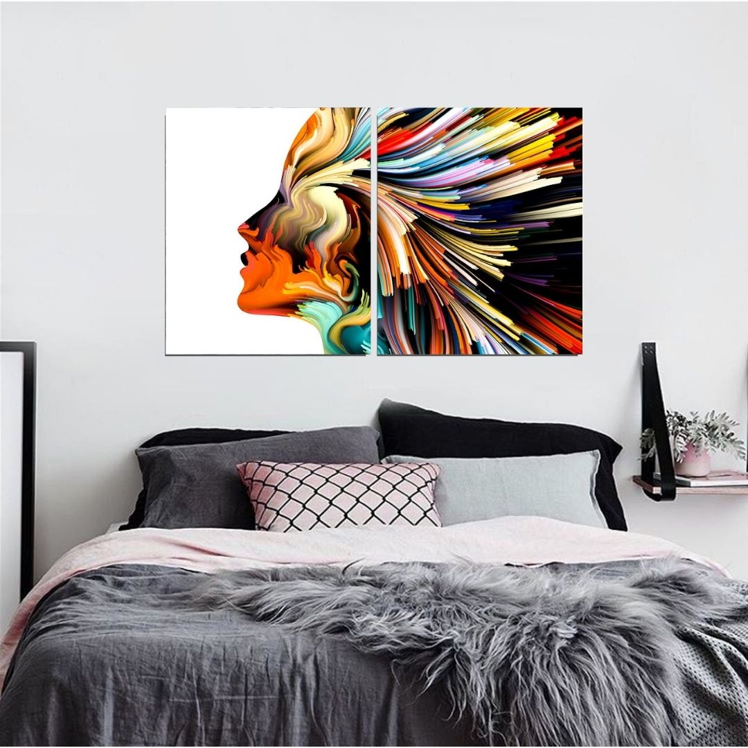 Quadro Para Sala - 2 Telas - Abstrato Feminino Colorido - 120x70cm