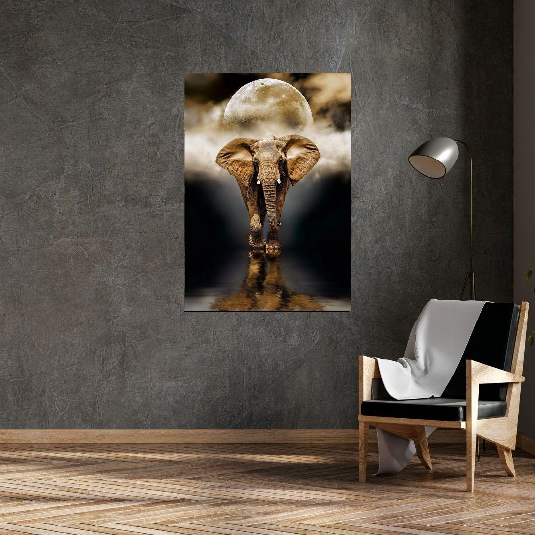 Quadro Decorativo - Elefante Sob o Luar - 100x70 cm