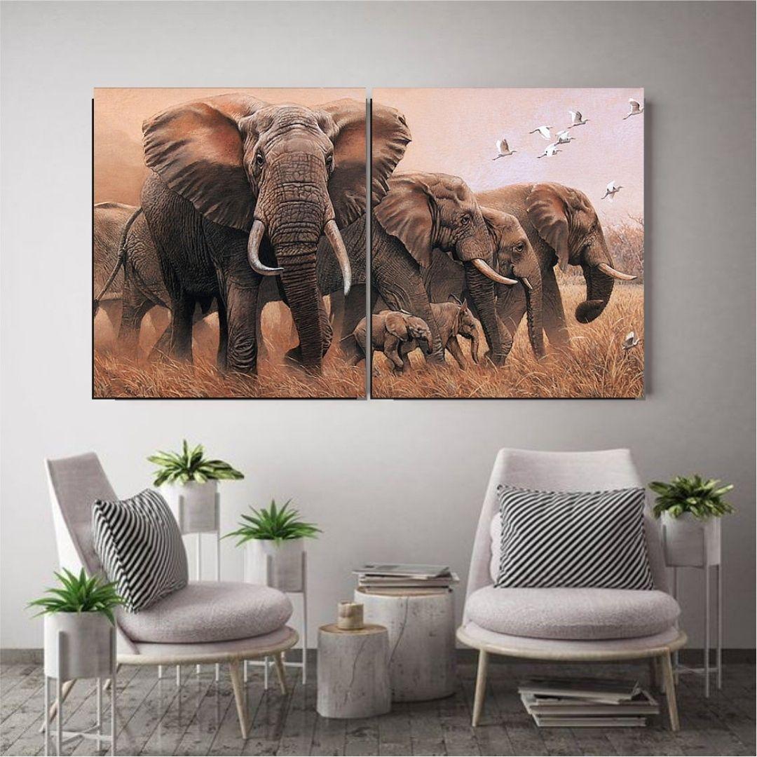 Quadro Decorativo - Elefantes - 2 telas - 140x80cm