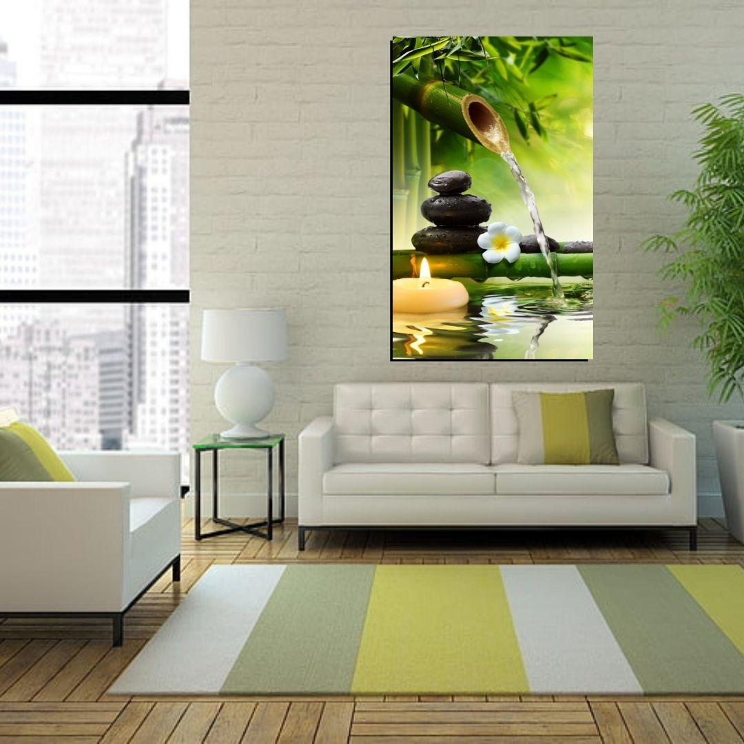 Quadro Decorativo - Feng Shui - Bambu com Cascata - 110x60cm