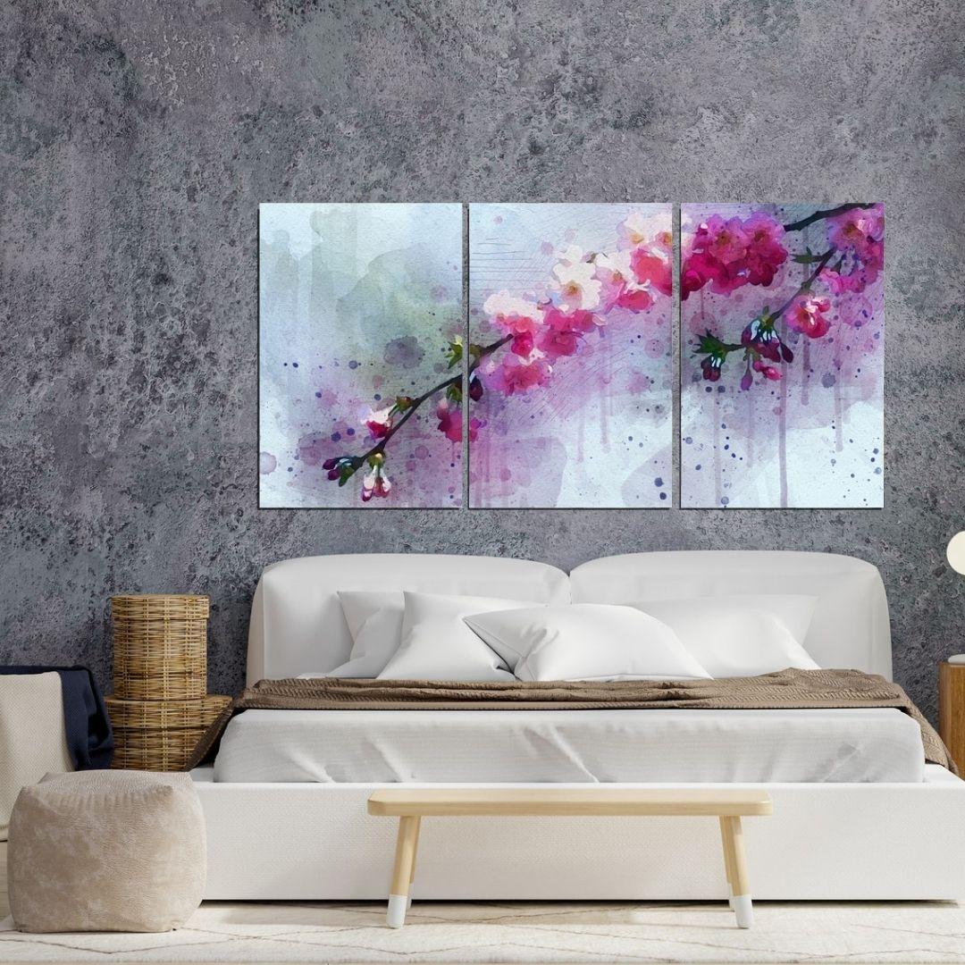 Quadro Decorativo - Flor de Cerejeira Aquarela - 3 Telas - 120x60cm