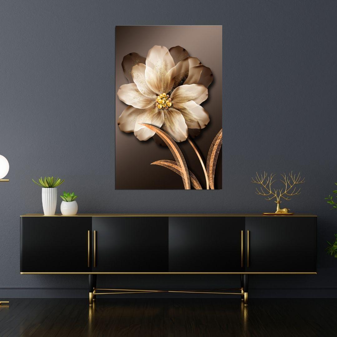 Quadro Decorativo - Flor Dourada - 100x65cm