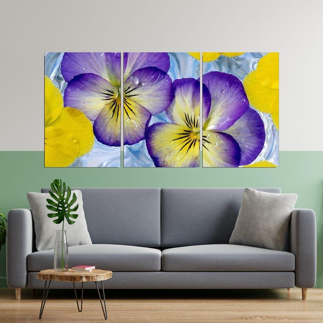 Quadro Decorativo - Floral Tons Violeta - 120x60cm