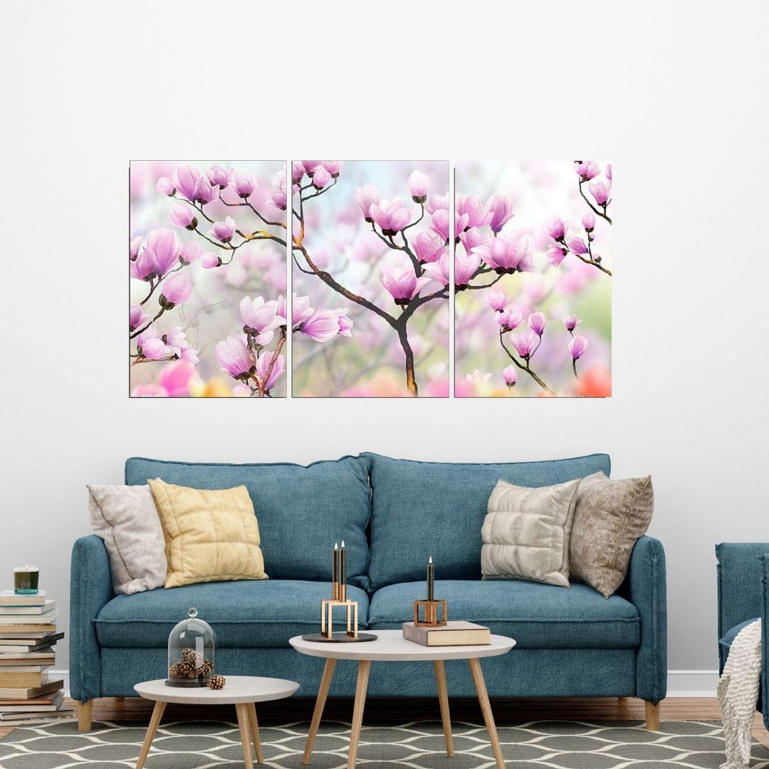 Quadro Decorativo - Flores de Cerejeira - Três Telas - 120x60cm