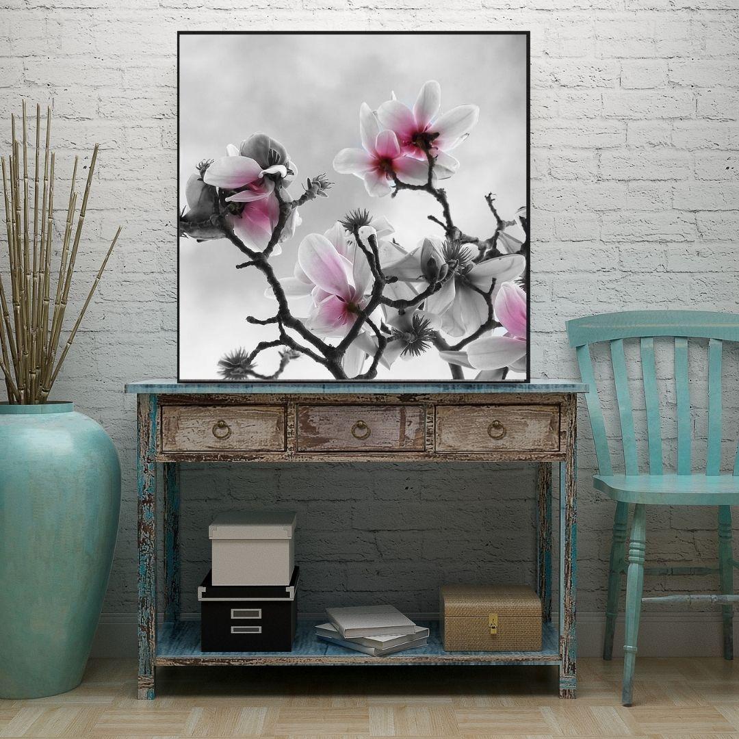 Quadro Decorativo - Flores Delicadas - 90x90cm - Com Moldura