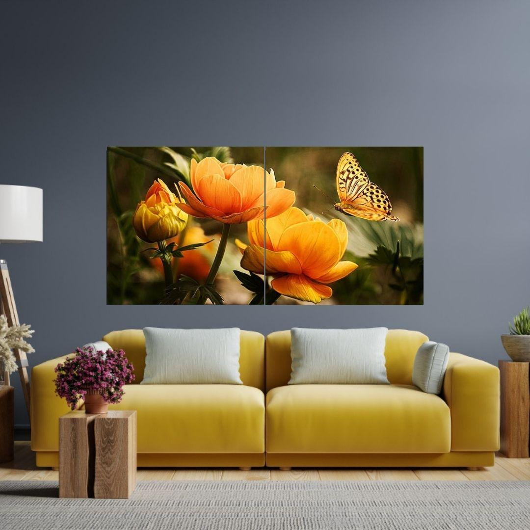 Quadro Decorativo - Flores e Borboleta 2 Telas - 140x70cm