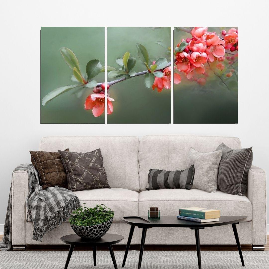 Quadro Decorativo - Flores Laranjas - 3 telas - 120x60cm