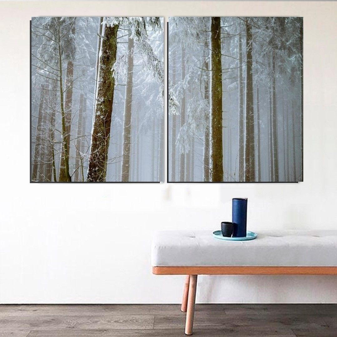 Quadro Decorativo - Neve na Floresta - 2 Telas - 120x80cm