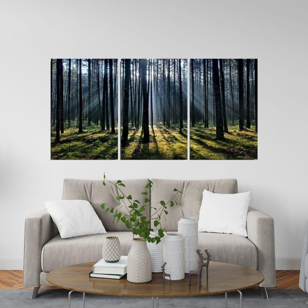 Quadro Decorativo - Floresta com Por do Sol - 3 telas - 120x60cm