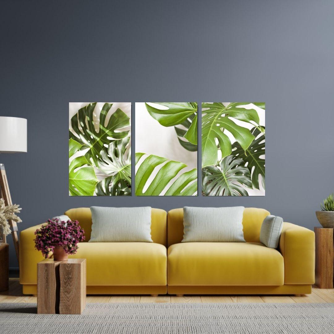 Quadros Decorativos 3 Telas - Folhas Tropicais - 60x40cm