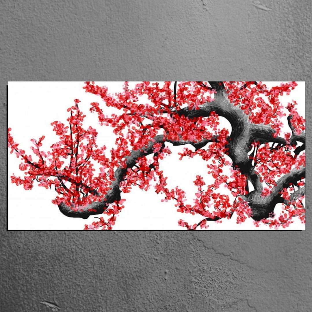 Quadro Decorativo - Galho Floral Vermelho - 110x50cm.