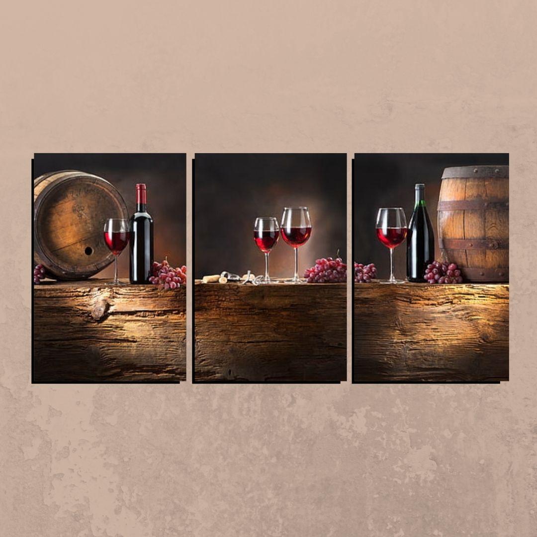 Quadro Decorativo - Garrafas de Vinho - 3 telas - 120x60cm